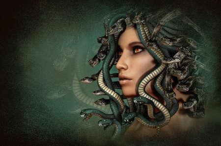 3D computer graphics van een portret van de Griekse mythologische figuur Medusa