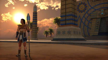 3d computer graphics of an Egyptian scenery with a temple, pyramids in the distance, date palms and a man in ancient Egypt clothing