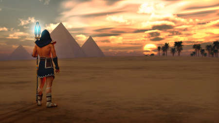 ancient egypt: 3d computer graphics of an Egyptian scenery with pyramids, date palms and a man in ancient Egypt clothing