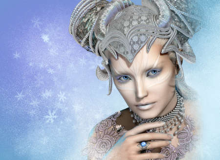 fantasy woman: 3d computer graphics of a portrait of the Snow Queen Stock Photo