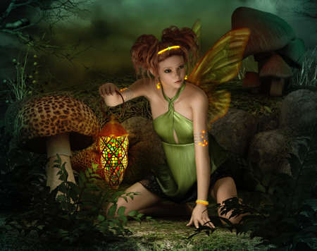 fairy toadstool: 3d computer graphics of a fairy with butterfly wings, glowing jewelry and a lantern in her hand