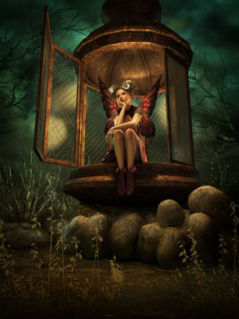 3d computer graphics of a fairy with white poppies in her hair sitting in a big lantern at night