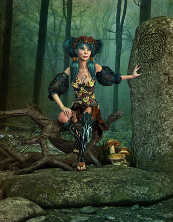 gnarled: 3d computer graphics of a fairylike girl with a wreath on her head sitting at a ritual stone on a gnarled tree branch