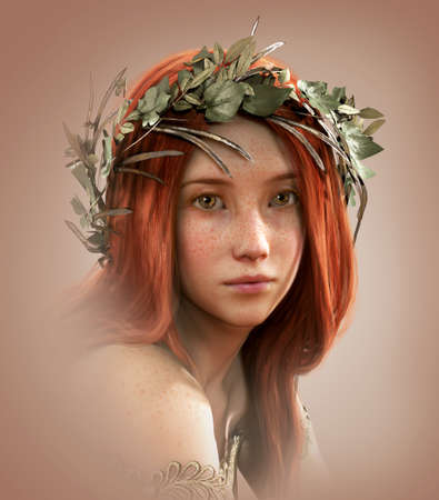 freckles: 3d computer graphics of a portrait of a young girl with red hair and freckles Stock Photo