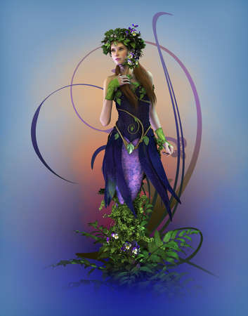 fairy woman: 3d computer graphics of a fairy with pansies