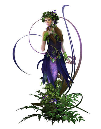 pansies: 3d computer graphics of a fairy with pansies