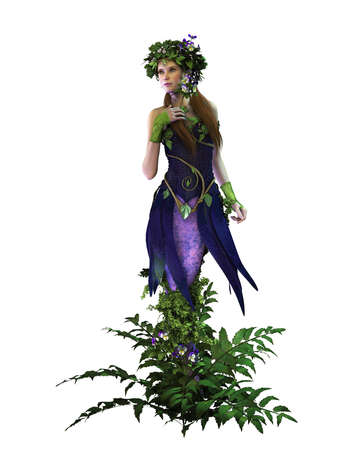 nymph: 3d computer graphics of a fairy with pansies