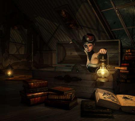 3D computer graphics van een meisje met suiker schedel make-up, een topper van haar hoofd en een lantaarn in haar hand, zittend in een koffer
