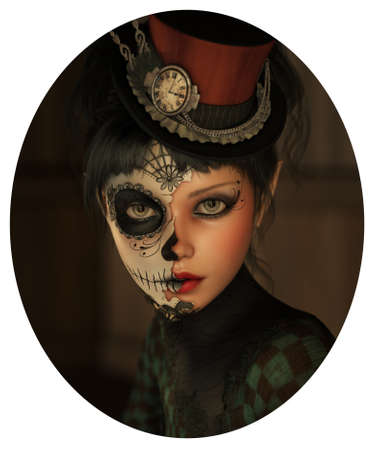 topper: 3d computer graphics of a girl with sugar skull makeup and a topper of her head Stock Photo