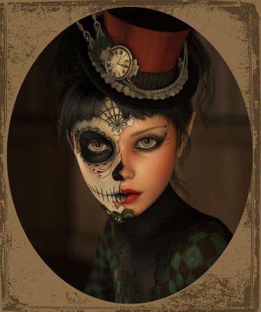 Gráficos por ordenador en 3D de una niña con maquillaje de calavera de azúcar y un adorno de la cabeza Foto de archivo - 54092847
