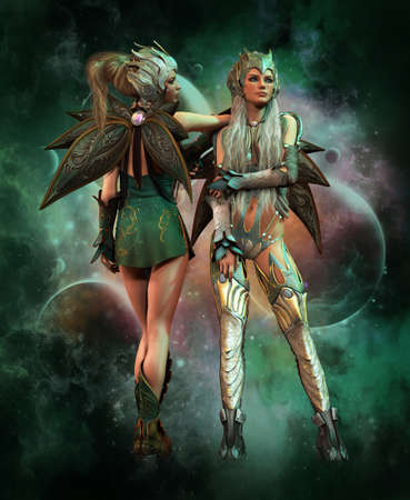 3d computer graphics of a fantasy scene with two girls in fantasy outfit Stock Photo