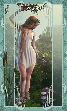 water lilies: 3d computer graphics of a girl who stands in shallow water with water lilies