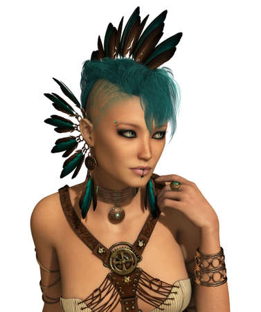 piercing: 3d computer graphics of a young woman with a Steampunk outfit, feather jewelry and a Mohawk hairstyle