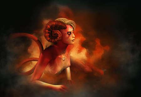 gráficos por ordenador en 3D de una niña de salamandra que está sentado en el fuego