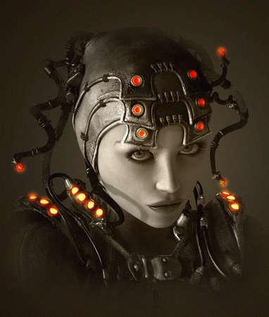 衣類および空想科学小説のスタイルでヘッドドレスの若い女性の 3 D コンピュータ ・ グラフィックス 写真素材