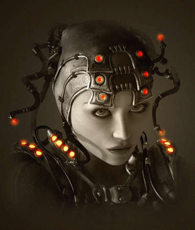 3D computer graphics of a young woman with clothing and headdress in science fiction style Imagens