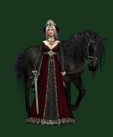 medieval woman: 3d computer graphics of a young woman with medieval dress and a black horse