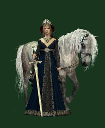 woman middle age: A young woman in medieval dress and a white horse