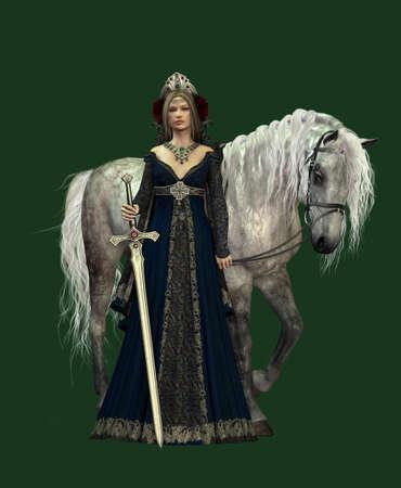 medieval dress: Una mujer joven en traje medieval y un caballo blanco