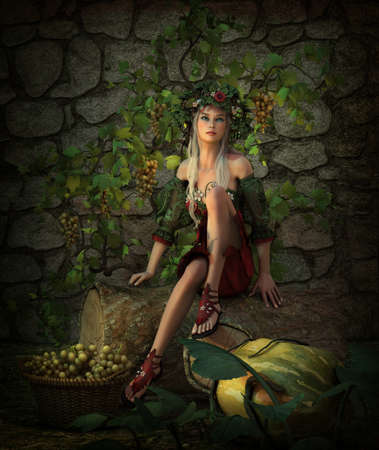 tree stump: 3d computer graphics of a girl sitting on a tree stump with a basket full of grapes and a pumpkin
