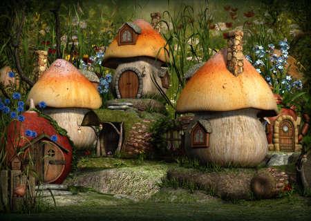 enano: gráficos por ordenador 3D de un pueblo con casas de campo Leprechaun Foto de archivo