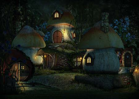 dwarfs: 3d computer graphics of a village with Leprechaun cottages by night