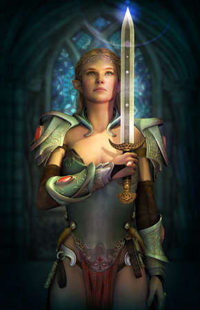 3d computer graphics of a fairy with a fantasy armor and sword