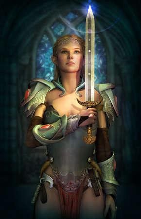 guerrero: gráficos por ordenador en 3D de un hada con una armadura y una espada de la fantasía