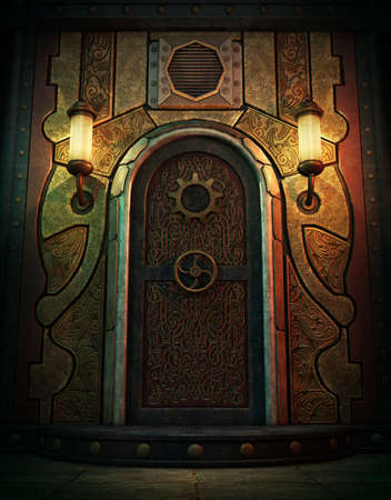 3d computer graphics of a vault door in Steampunk style Stock Photo