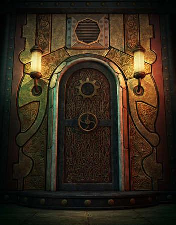 Gráficos por ordenador en 3D de una puerta de la bóveda en el estilo de Steampunk Foto de archivo - 64076479