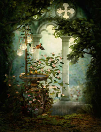 enchanted forest: 3d computer graphics of birds and a birdbath Stock Photo