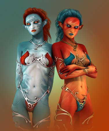nude girl: 3d computer graphics of two fairies in contrast colors