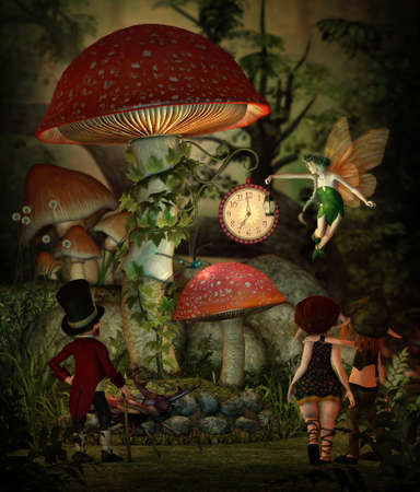 fairy toadstool: 3d computer graphics of a  group of goblins in the forest