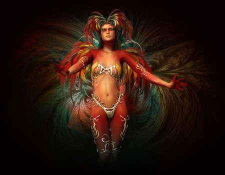 maquillaje fantasia: gráficos por ordenador 3D de una mujer con maquillaje de fantasía, joyas cuerpo y tocado de plumas y las alas