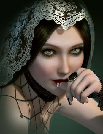 by the collar: 3d computer graphics of a portrait of a lady with black gem ring and a veil of lace on her head Stock Photo