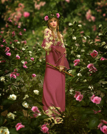 3d computer graphics of a girl with a flute, who stands in a rose garden Stock Photo