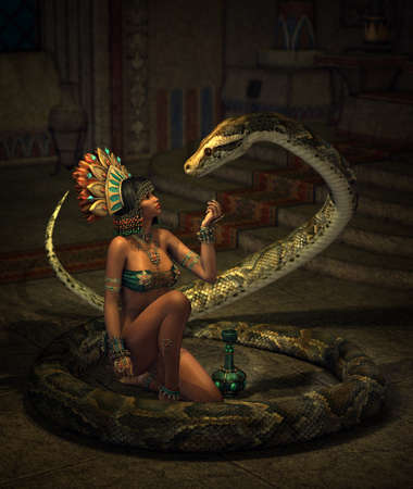 女の子と蛇とファンタジーのシーンの 3 d コンピュータ ・ グラフィックス