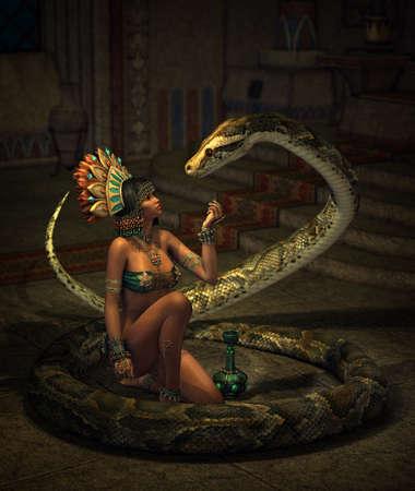 소녀와 뱀이있는 판타지 장면의 3D 컴퓨터 그래픽