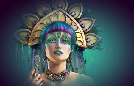 headgear: 3d computer graphics of a  portrait of a lady with headgear and makeup in fantasy style