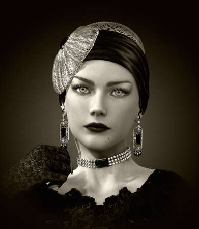actress: 3d computer graphics of a  portrait of a young lady with elegant head cover and jewelry in retro style