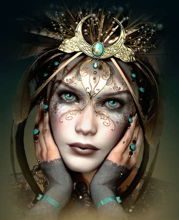 fantasy makeup: 3d computer graphics of a  portrait of a girl with headgear and makeup in fantasy style