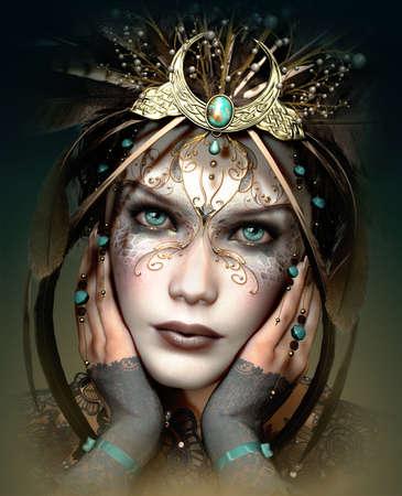 3d infographie d'un portrait d'une jeune fille avec des coiffures et le maquillage dans un style fantastique