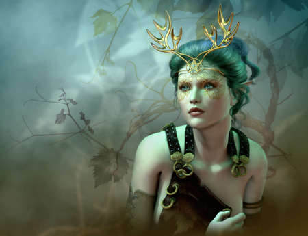 3D computer graphics of a girl with a golden antlers as headdress and vines in the background