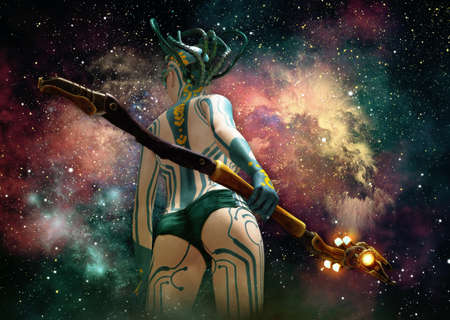 3d computer graphics of a  science fiction scene with a girl with body painting and starry sky in the background