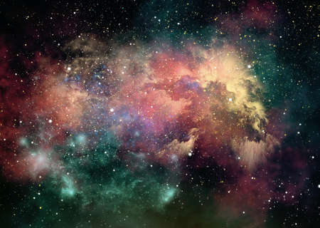 gleam: 3d computer graphics of nebulae and starry sky in outer space   Stock Photo