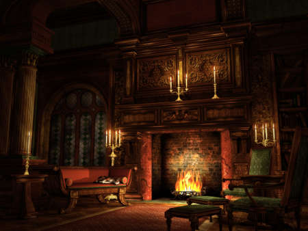 3d computer graphics of a cozy nostalgic interior scene with a sleeping cat on a couch, fireplace and candle light