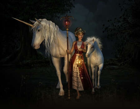 gentleness: 3d computer graphics of a girl with staff and lantern and two unicorns