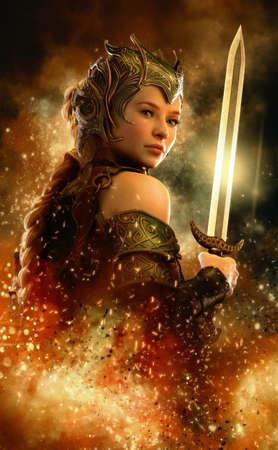 gráfico: computação gráfica 3D de um guerreiro fêmea com vestido de fantasia e espada