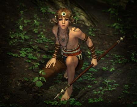 3D computer graphics van een mannelijke elf op jacht met een speer