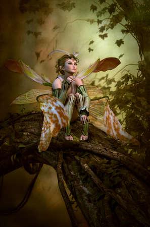gráficos por ordenador en 3D de un hada con alas de mariposa que se sienta en un tronco de árbol